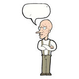 Cartoon mean old man with speech bubble Royalty Free Stock Images