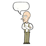 cartoon mean old man with speech bubble Royalty Free Stock Photography