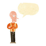 cartoon mean old man with speech bubble Stock Photo