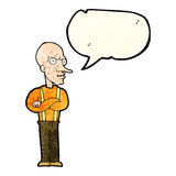 cartoon mean old man with speech bubble Stock Photography