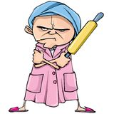 Cartoon of mean old woman royalty free illustration