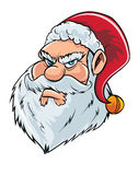 Cartoon mean Santa Claus head. Isolated Stock Image