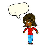 Cartoon mean woman with speech bubble Stock Image