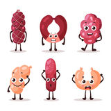 Cartoon meat characters with smiley faces Stock Photography