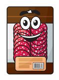 Cartoon meat chopped sausage in package. Fresh meat chopped sausage in plastic package, suitable for food and restaurant design Royalty Free Stock Image