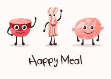 Cartoon meat food character, beacon steak Stock Images