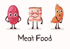 Cartoon meat food characters with smiley faces. Fresh meat gourmet with sausage and salami, cartoon beef meat and lard. May be used for prepared meat food Stock Photos