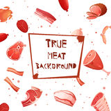 Cartoon Meat Set Seamless Pattern Royalty Free Stock Image