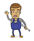 Cartoon mechanic holding a wrench Royalty Free Stock Image