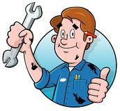 Cartoon mechanic logo. Cartoon mechanic holding a wrench Royalty Free Stock Photo