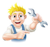Cartoon Mechanic or Plumber Stock Images