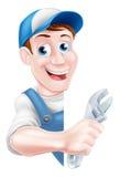 Cartoon Mechanic Plumber Man Stock Photo