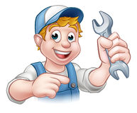 Cartoon Mechanic or Plumber with Spanner Stock Photo