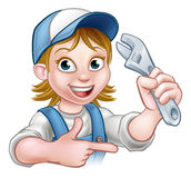 Cartoon Mechanic Plumber Woman Holding Spanner Royalty Free Stock Images