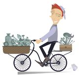 Cartoon mechanic with replacement components and tools. Cartoon cheerful mechanic with replacement components and tools is going to work on the bike isolated on Royalty Free Stock Photography