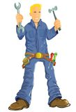 Cartoon mechanic with tools Royalty Free Stock Photo