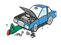 Cartoon of mechanic working on a car Stock Photos