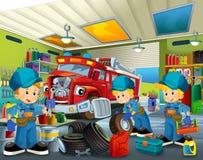 Cartoon mechanic workshop Stock Photo