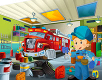 Cartoon mechanic workshop Royalty Free Stock Photo