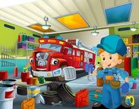 Cartoon mechanic workshop Royalty Free Stock Photo