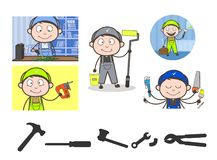 Cartoon Mechanics with Different Professions Vector Concepts. Cartoon Mechanics with Different Professions Vector design royalty free illustration