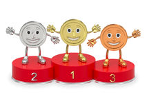 Cartoon medals on red podium Royalty Free Stock Images