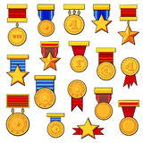 Cartoon medals set. Set cartoon golden blank medals award with Ribbon for Games. Achievement Icon. Vector symbols Royalty Free Stock Photos