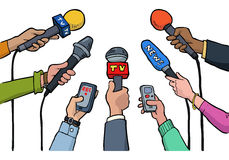 Cartoon media interview Stock Images