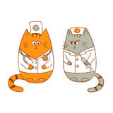 Cartoon medical team - the doctor and the nurse. Funny cats Stock Image