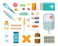 Cartoon medicaments. Different medical pills and bottles, healthcare and shopping, pharmacy, drug store. Vector vector illustration