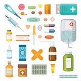 Cartoon medicaments. Different medical pills and bottles, healthcare and shopping, pharmacy, drug store. Vector stock illustration
