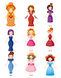 Cartoon Medieval beautiful girls Royalty Free Stock Photography
