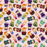 Cartoon Medieval beautiful girls seamless pattern Royalty Free Stock Image