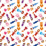 Cartoon Medieval beautiful girls seamless pattern Stock Photography