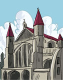 Cartoon of a medieval cathedral Stock Photos