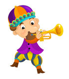 Cartoon medieval character - jester with trumpet -  Royalty Free Stock Photo