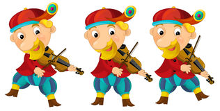 Cartoon medieval character - jester with violin - isolated Stock Image