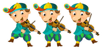 Cartoon medieval character - jester with violin - isolated Stock Photography