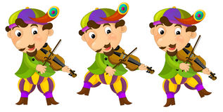 Cartoon medieval character - jester with violin - isolated Stock Images
