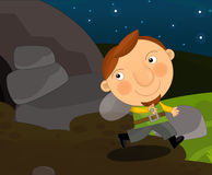 Cartoon medieval character - man running from the cave - isolated Stock Photo