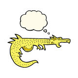 cartoon medieval dragon with thought bubble Royalty Free Stock Photo