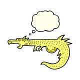 cartoon medieval dragon with thought bubble Royalty Free Stock Photography