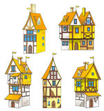 Cartoon medieval houses Royalty Free Stock Photo