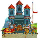 The cartoon medieval illustration for the children - title page - misc usage Stock Image