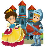 The cartoon medieval illustration for the children - title page - misc usage Royalty Free Stock Image