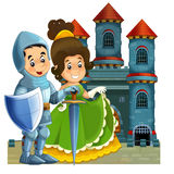 The cartoon medieval illustration for the children - title page - misc usage Royalty Free Stock Images