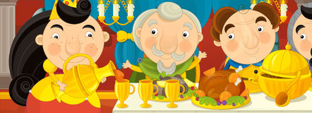 Cartoon medieval knights by the table - for different fairy tales Royalty Free Stock Image