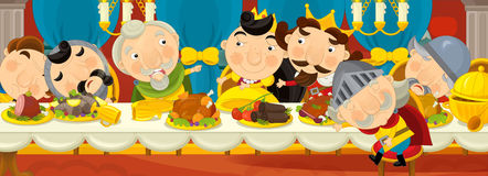 Cartoon medieval knights by the table - for different fairy tales Royalty Free Stock Photo