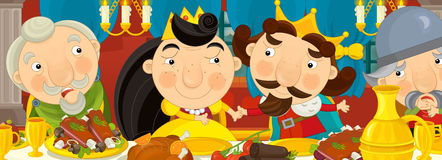 Cartoon medieval knights by the table and lady - for different fairy tales Stock Photo