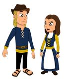 Cartoon of a medieval merchant couple Royalty Free Stock Photography